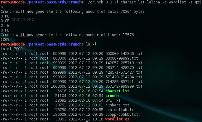 Creating Wordlists With Crunch | Penetration Testing Lab