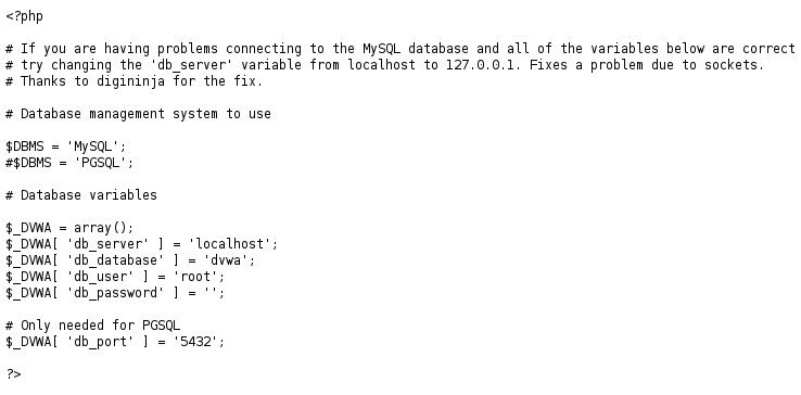Discover credentials on the config.php file