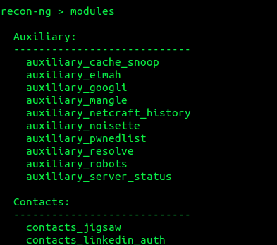 recon-ng - sample of the available modules