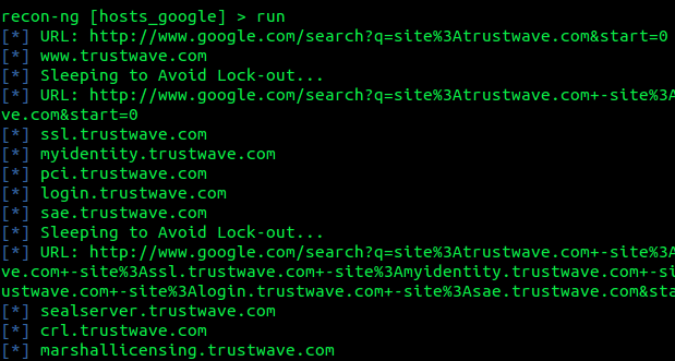 Discovering subdomain with recon-ng