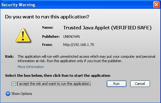 Malicious Java Applet
