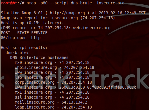 Nmap - Brute Forcing DNS