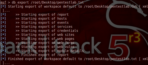 Export Results From Metasploit Database