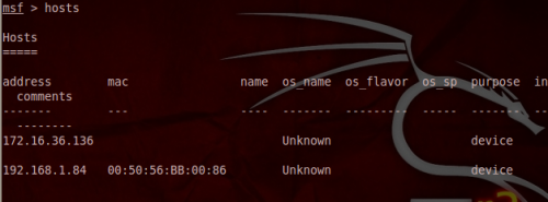 List Hosts - Metasploit Database
