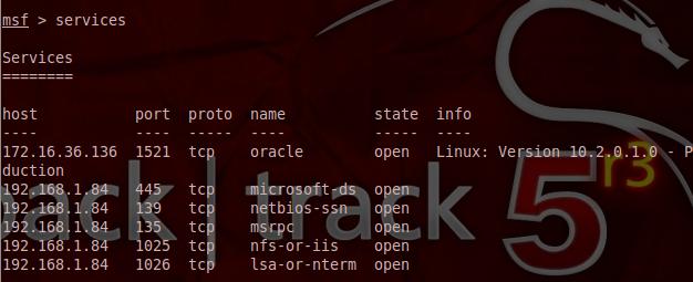 List Services - Metasploit Database