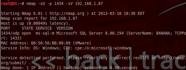 SQL Server Discovery - Nmap