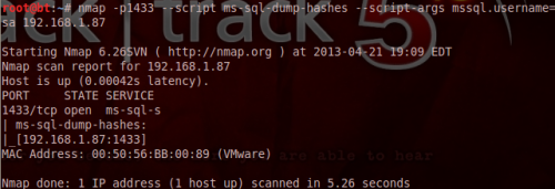 Dump MS-SQL hashes - Nmap