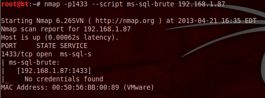 Brute Force Weak MS-SQL Accounts - Nmap