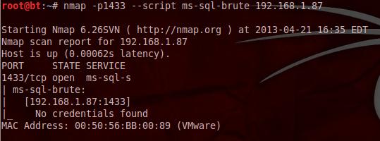 Brute Force MS-SQL fracos Contas - Nmap