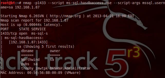 Descubra qual o usuário tem acesso a que db - Nmap