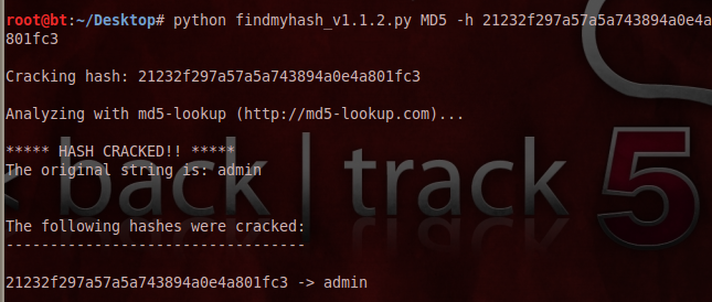 FindMyHash Script in action
