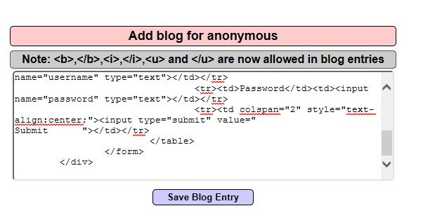 Injecting HTML Code - Fake Login