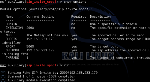 Fake INVITE - Metasploit