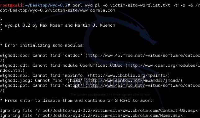 Running Wyd tool to generate passwords