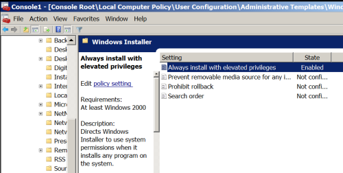 GPO-User - Always Install with elevated privileges