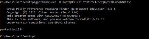 Decrypting GPP Passwords with gp3finder