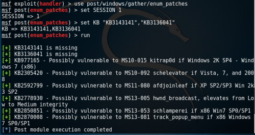 Metasploit - Patches Enumeration