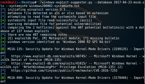 Windows Exploit Suggester