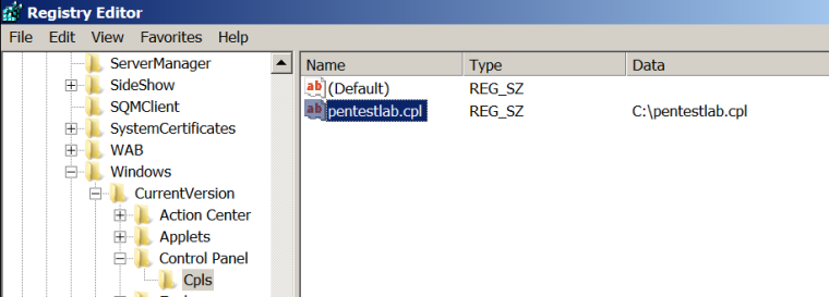 Registry Editor - Add CPL Key