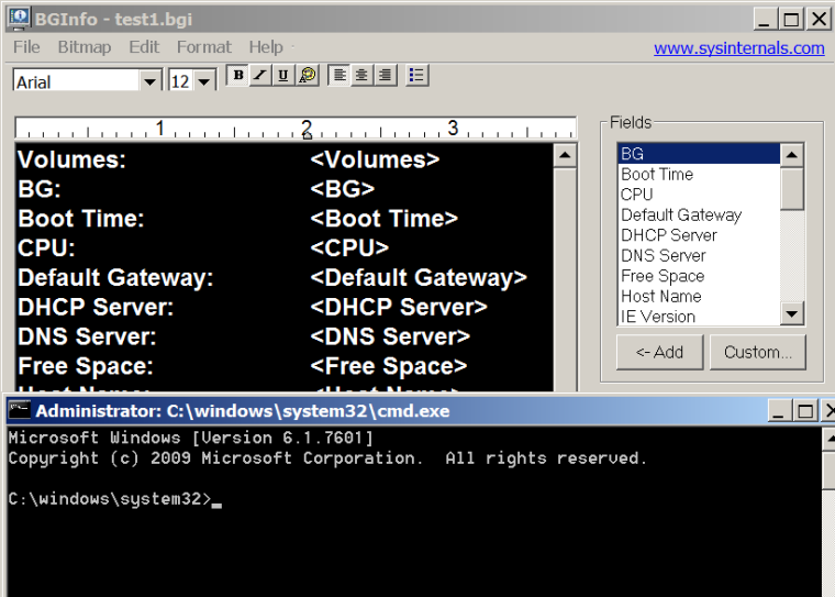 BgInfo and Command Prompt
