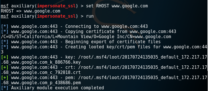 Generate Certificate with Metasploit