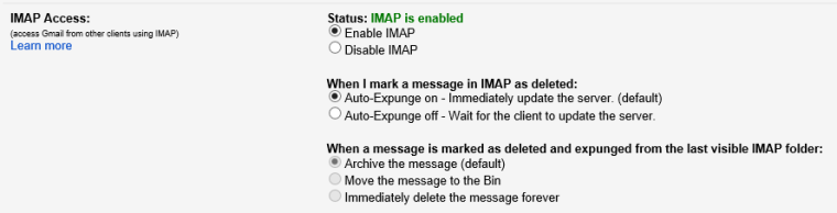 Gmail - IMAP Setting Enabled
