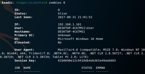 Koadic - Interact with Zombies