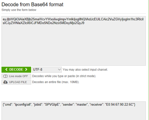 Twittor - Decoding Base64 Commands