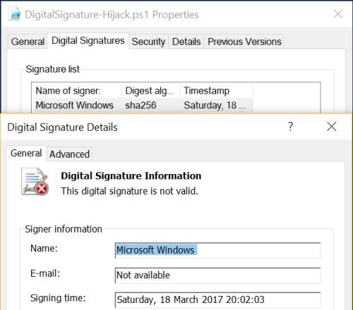 PowerShell Script - Invalid Signature