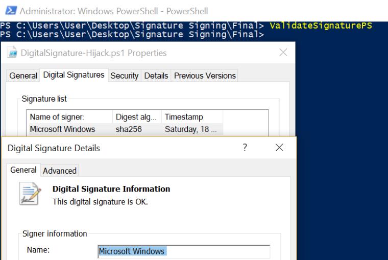 PowerShell Script - Valid Signature
