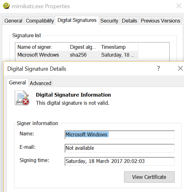 Signed Mimikatz - Invalid Signature