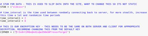 TrevorC2 - Encryption Key and Data Location  - trevorc2 encryption key data location - Command and Control – Website