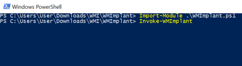 WMImplant - Execution  - wmimplant execution - Command and Control – WMI