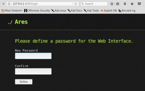 Ares - Password Setup  - ares password setup - Command and Control – Web Interface