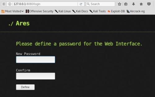 Ares - Password Setup