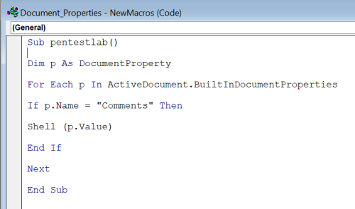 Document Properties - Word Macro