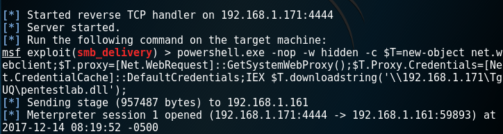 Metasploit SMB Delivery - Meterpreter via PowerShell Payload