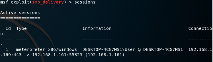 Metasploit SMB Delivery - Sessions